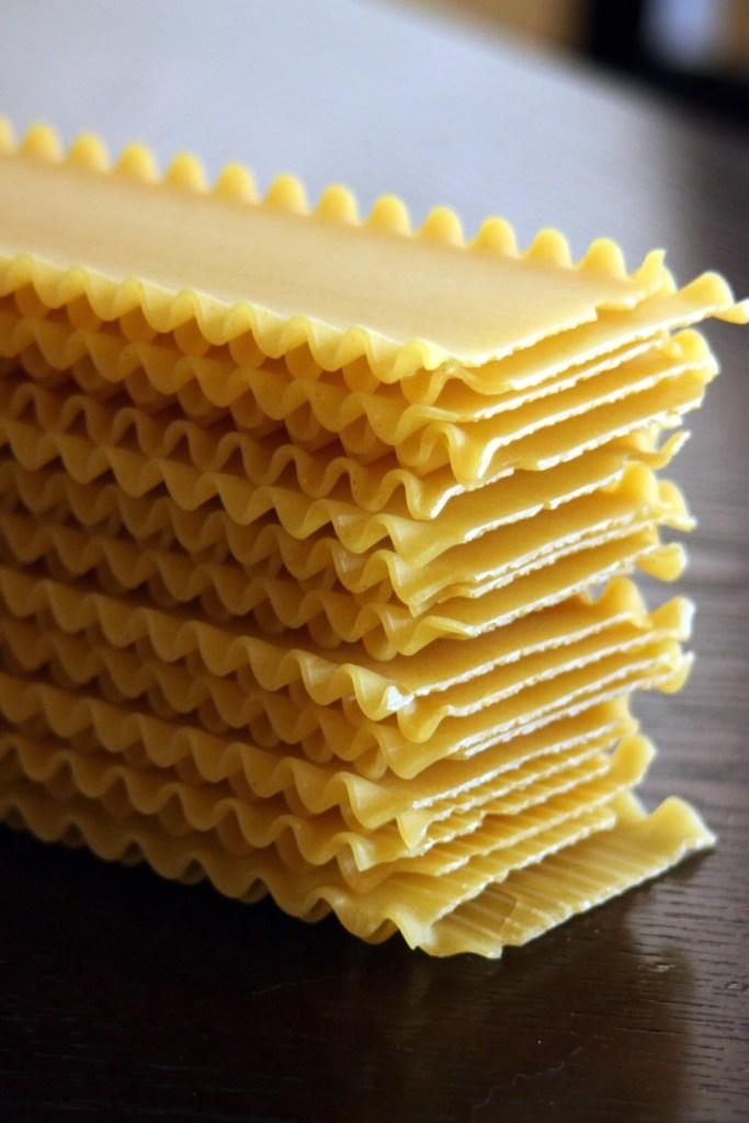 stack of unbaked lasagna noodles