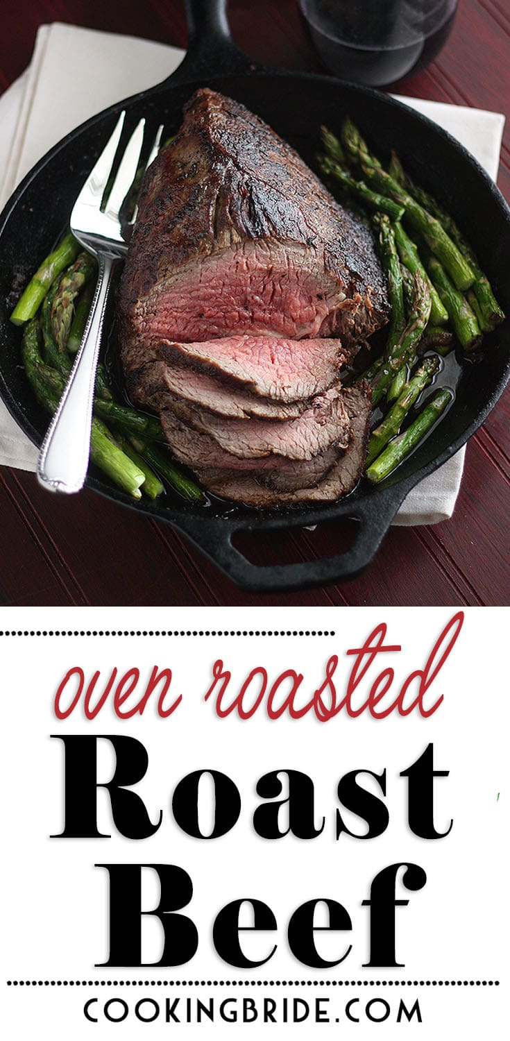 This oven roasted roast beef dinner is easy enough to prepare any night of the week! Seasoned with salt, pepper, and thyme, it's seared until brown then finished under the broiler. Serve drizzled with pan juices.