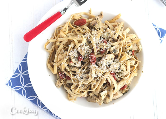 Fettuccine with Sundried Tomatoes, Chicken, and Pesto - CookingBride.com
