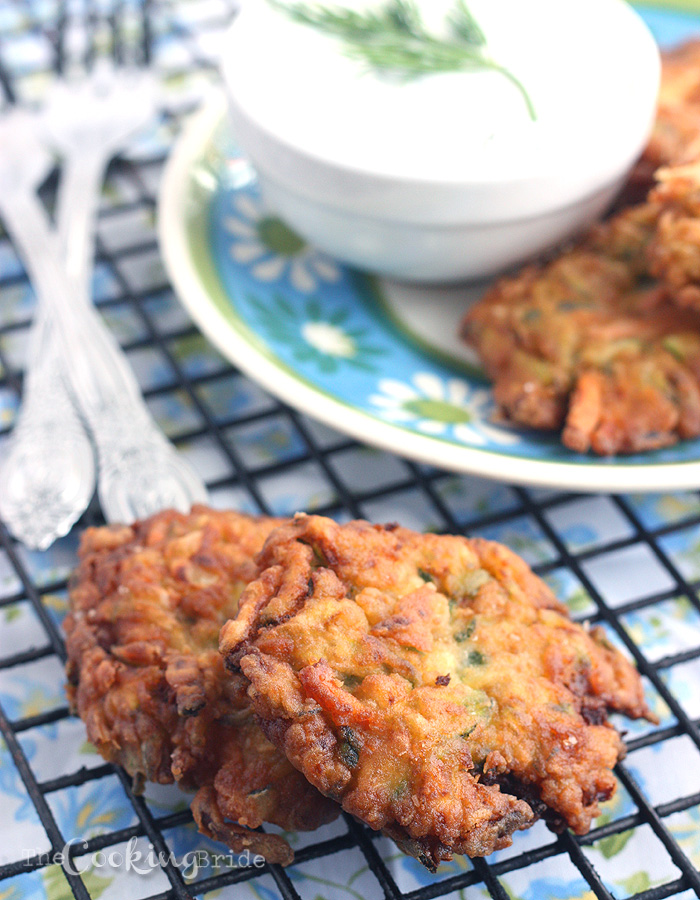 Zucchini Patties with Dill Dipping Sauce - CookingBride.com