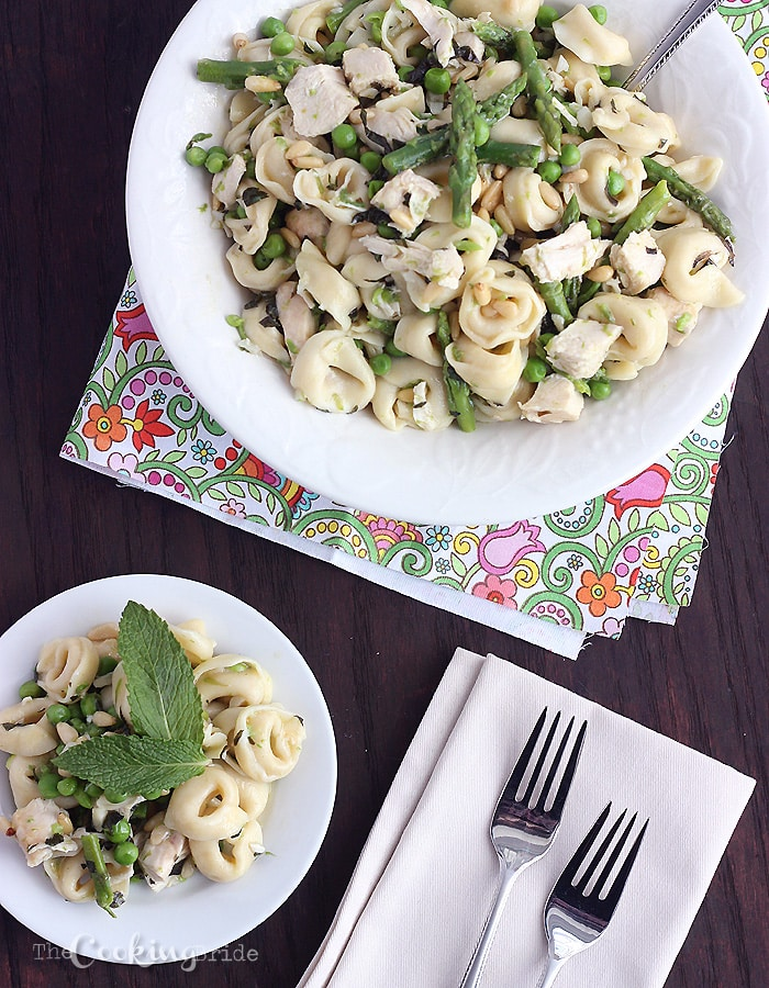 Tortellini with Asparagus, Sweet Peas, and Mint - CookingBride.com