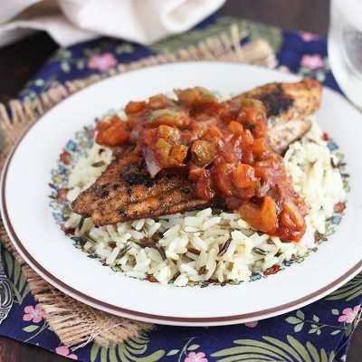 Blackened Catfish with Creole Sauce