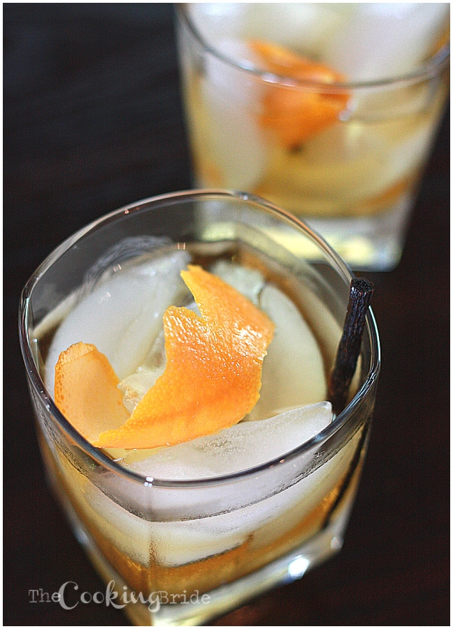 Vanilla bean,  sugar and orange peels are mixed with bourbon in this new spin on a classic Old Fashioned cocktail recipe.