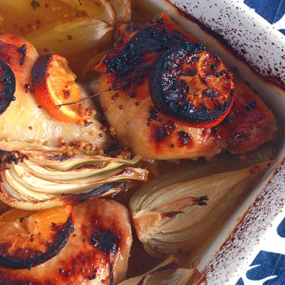 Clementine Chicken Thighs with Roasted Fennel