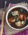 Tender chicken tortellini, veggies and tangy thai chili vinegar make give this garden vegetable chicken wonton soup a spicy kick.