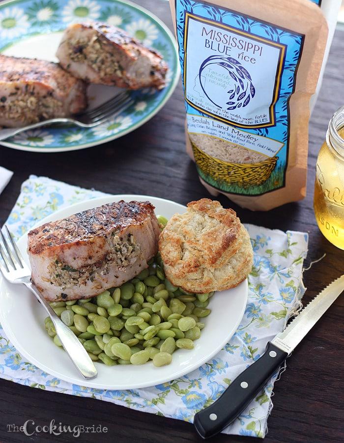 Herb Pesto Rice Stuffed Pork Loin Chops 094 V WM