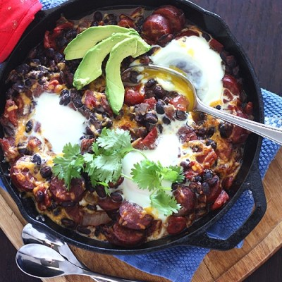 Oven Baked Eggs with Andouille and Black Beans