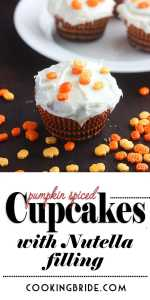 Pumpkin Spice Cupcakes with Nutella Filling