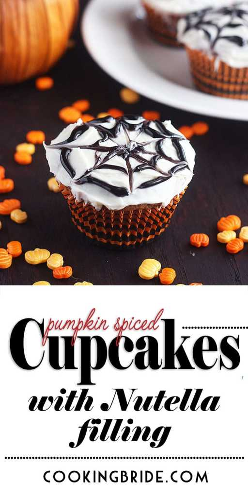 Pumpkin Spice Halloween Cupcakes with Nutella Filling