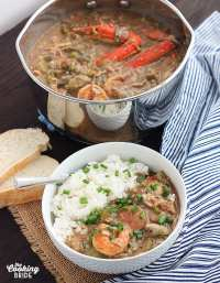 Rich and hearty shrimp gumbo recipe is laden with tender shrimp, crabmeat, oysters and herbs and spices for an authentic Creole flavor.