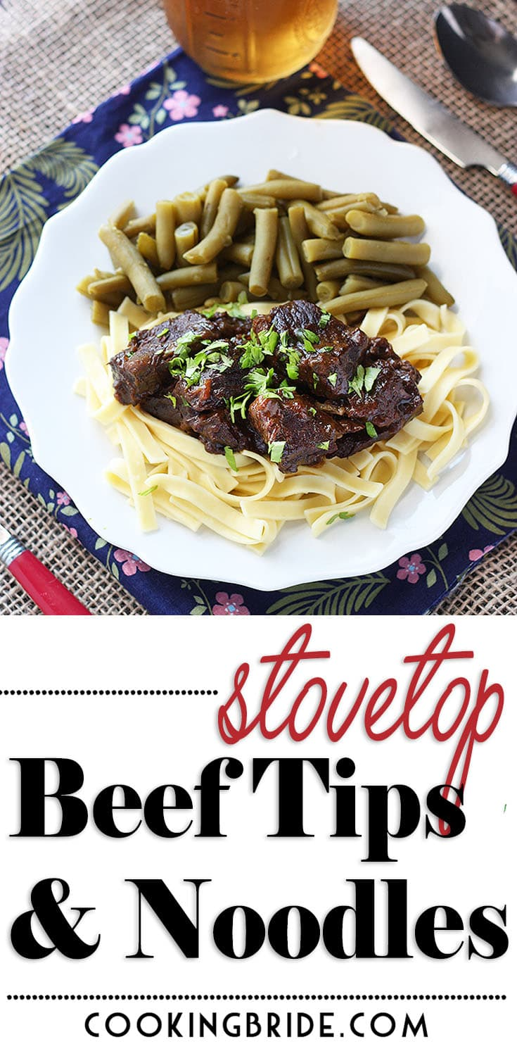 These savory stovetop beef tips and noodles are slowly simmered until fork tender in a rich gravy with onions, bell peppers, and mushrooms.