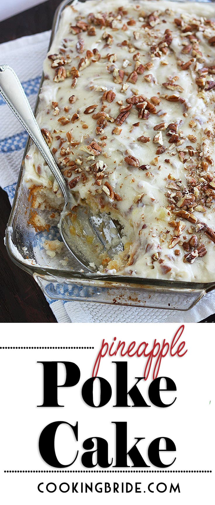 Pineapple poke cake is a quick and simple dessert with big results. Light white cake mix is drenched with sweet pineapple juice, then topped with a light and fluffy whipped cream cheese topping and crunchy chopped pecans.