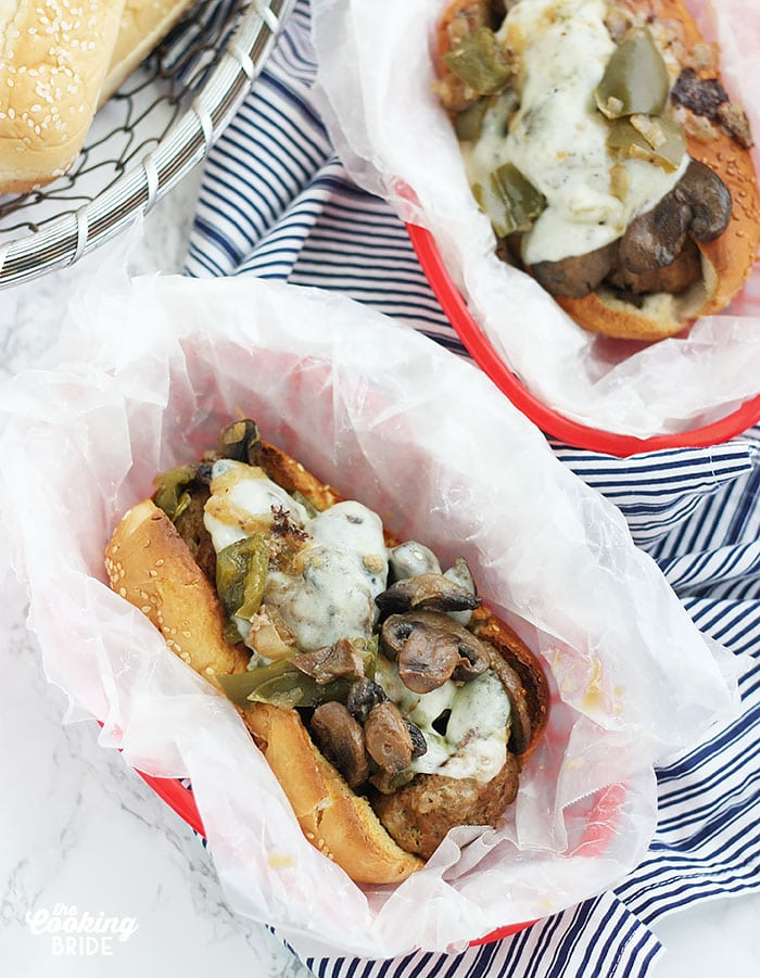 Philly Cheesesteak Meatball Subs