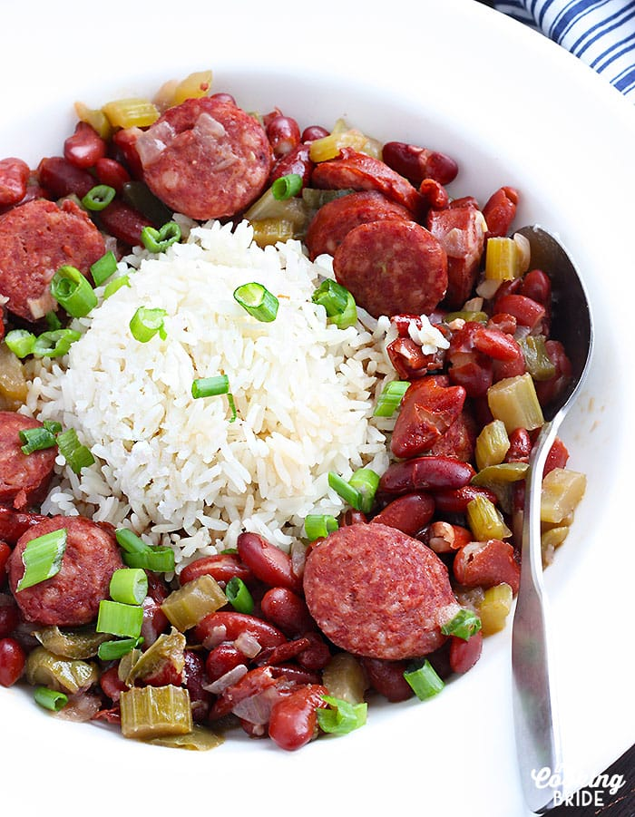 close up shot of Instant Pot red beans and rice