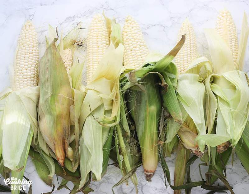partially shucked ears of corn