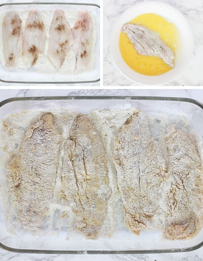 coating the catfish in breadcrumbs and egg