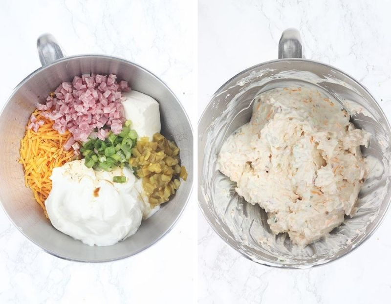 side-by-side shot of dip ingredients in a metal mixing bowl