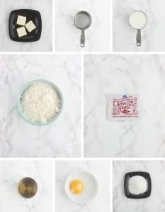 collage of beignet ingredients - butter, water, milk, flour, yeast, vanilla, egg yolk and sugar