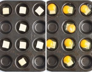 Left, one tablespoon of butter in muffin tin cups. Right, one egg over the butter in muffin tin cups