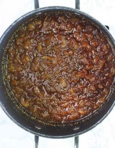 cooked fig preserves in a stock pot