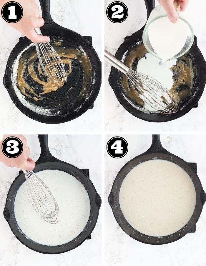 step one add flour to hot oil, step two add milk, step three whisk the milk until smooth, step four finished gravy
