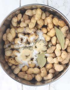 uncooked peanuts in a stock pot with salt, garlic powder, Italian seasoning and bay leaves
