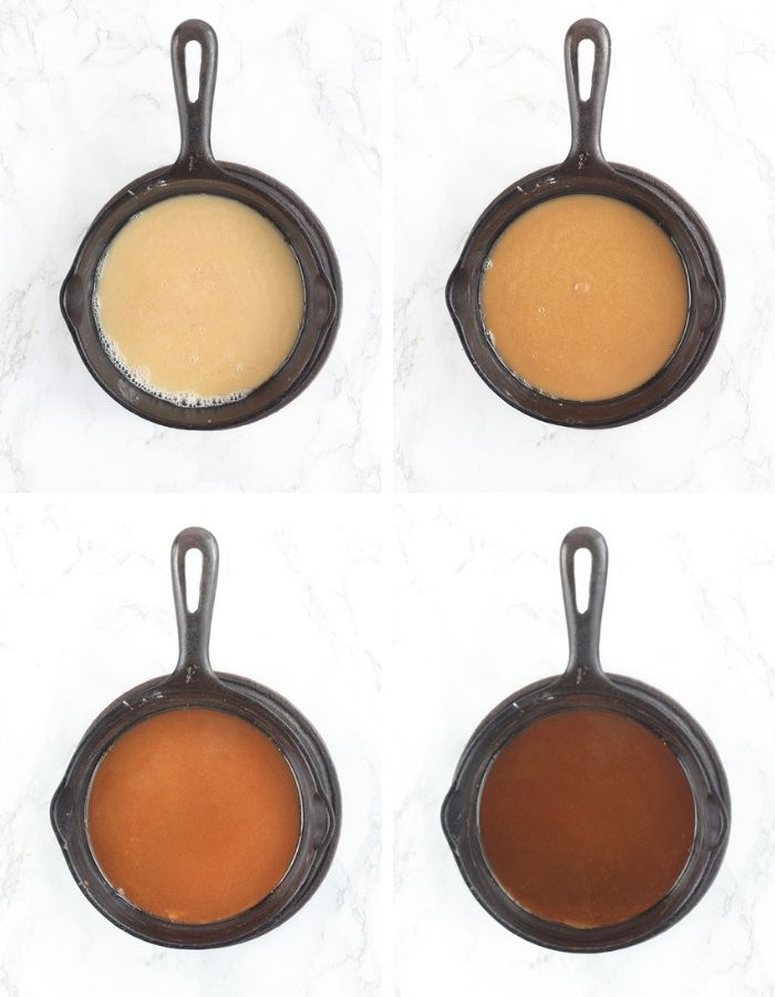 four types of roux - white, blonde, brown and dark brown - show in cast iron skillets