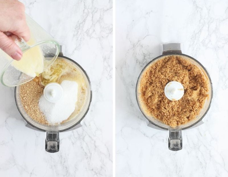 left, pouring melted butter into a food processor with sugar and graham cracker crumbs. Right, graham cracker crumbs, melted butter and sugar mixed together in a food processor