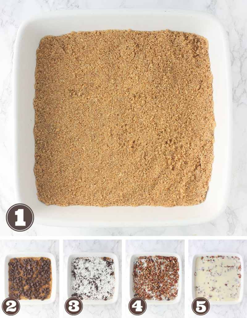 Five steps to assemble Hello Dolly Bars - graham cracker crust, chocolate chips, shredded coconut, chopped pecans and condensed milk