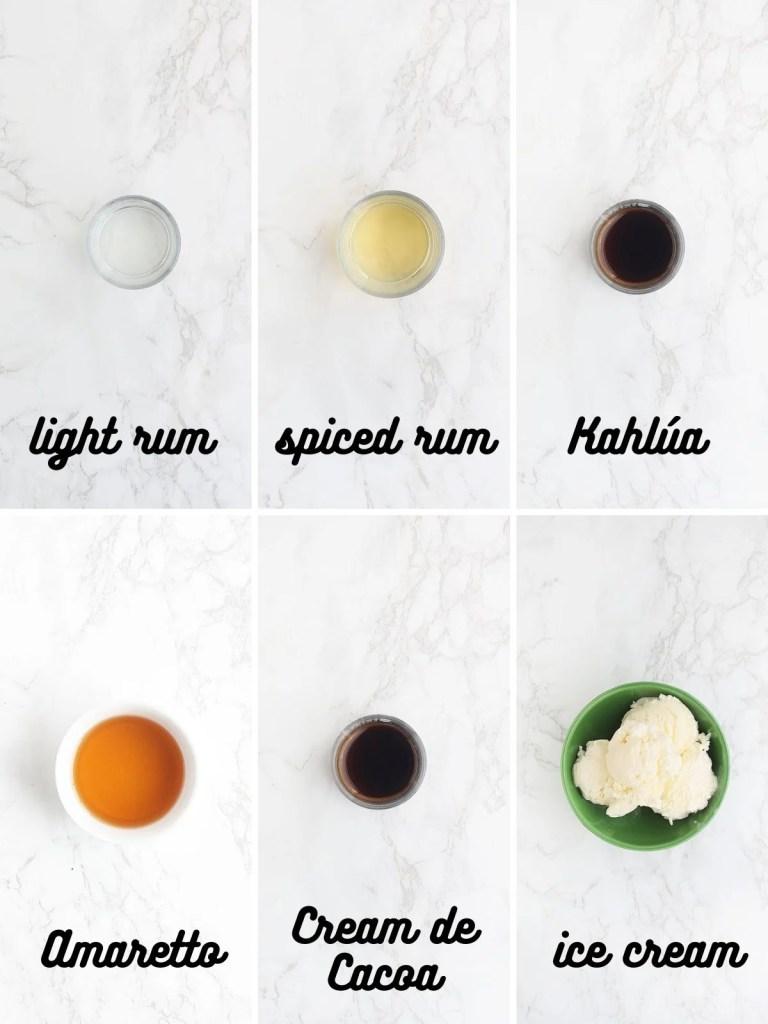 bushwacker ingredients include light rum, spiced rum, Kahlua, Amaretto, Cream de Cacoa and ice cream