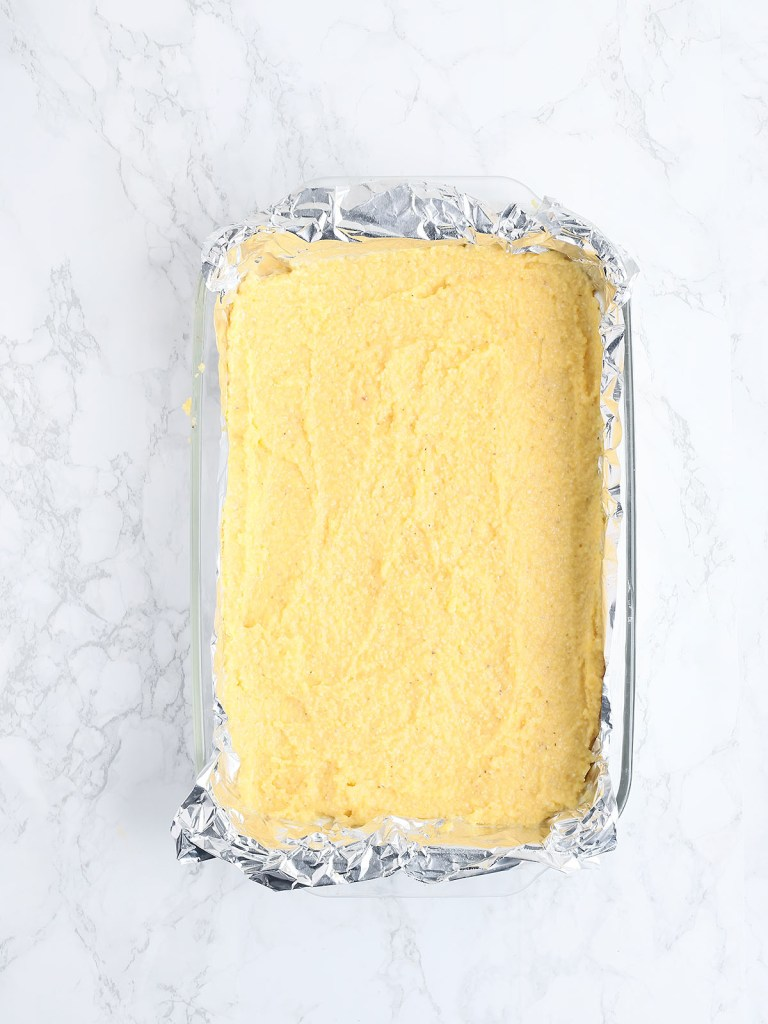 grits in a foil lined dish