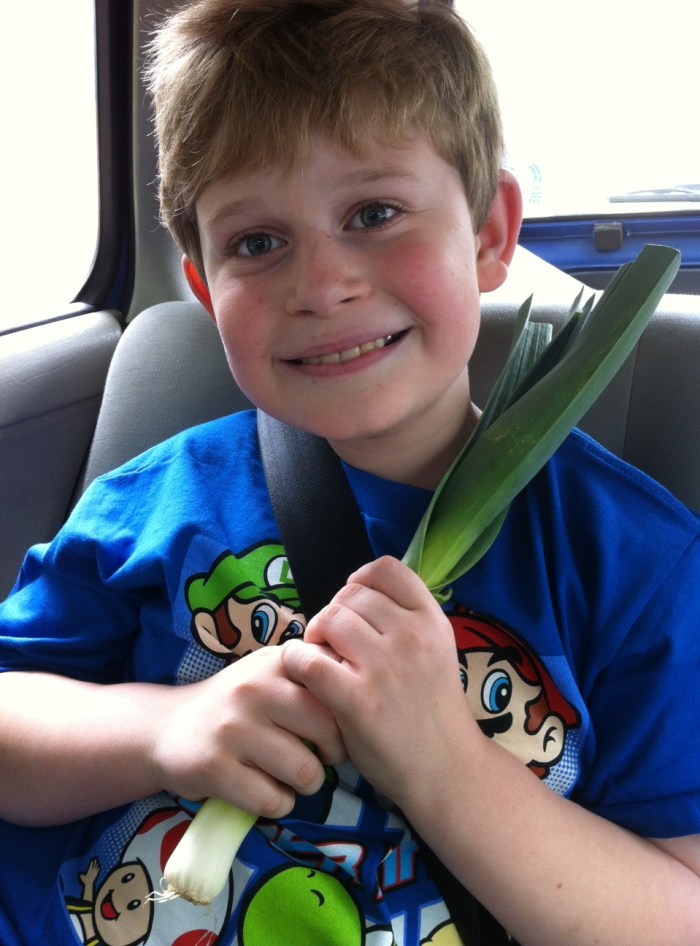 A boy and his leek.