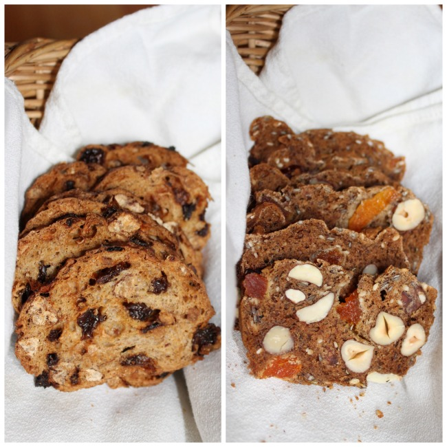 Left, Terra Bread's Pean Fruit Crisps, Right, my gluten-free version.