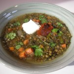 Beluga Lentil Soup with Tomato Pepper Harissa