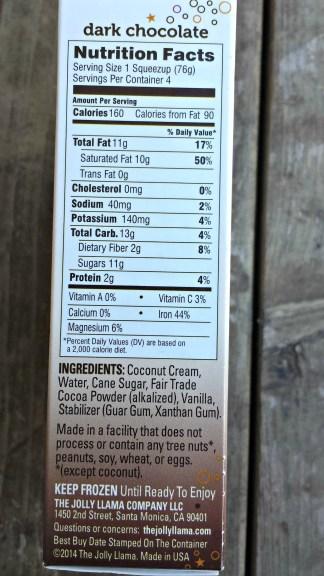 dark chocolate ice nutrition facts
