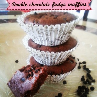 Double Choco Fudge Muffins
