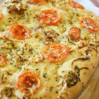 Caramelized Onions, Tomato and Herbs Focaccia Bread