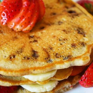 ChocoChip Pancakes Topped with Strawberries and Bananas