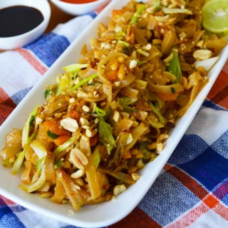 Flat Rice Noodles Tossed In Fresh Vegetables & Peanuts