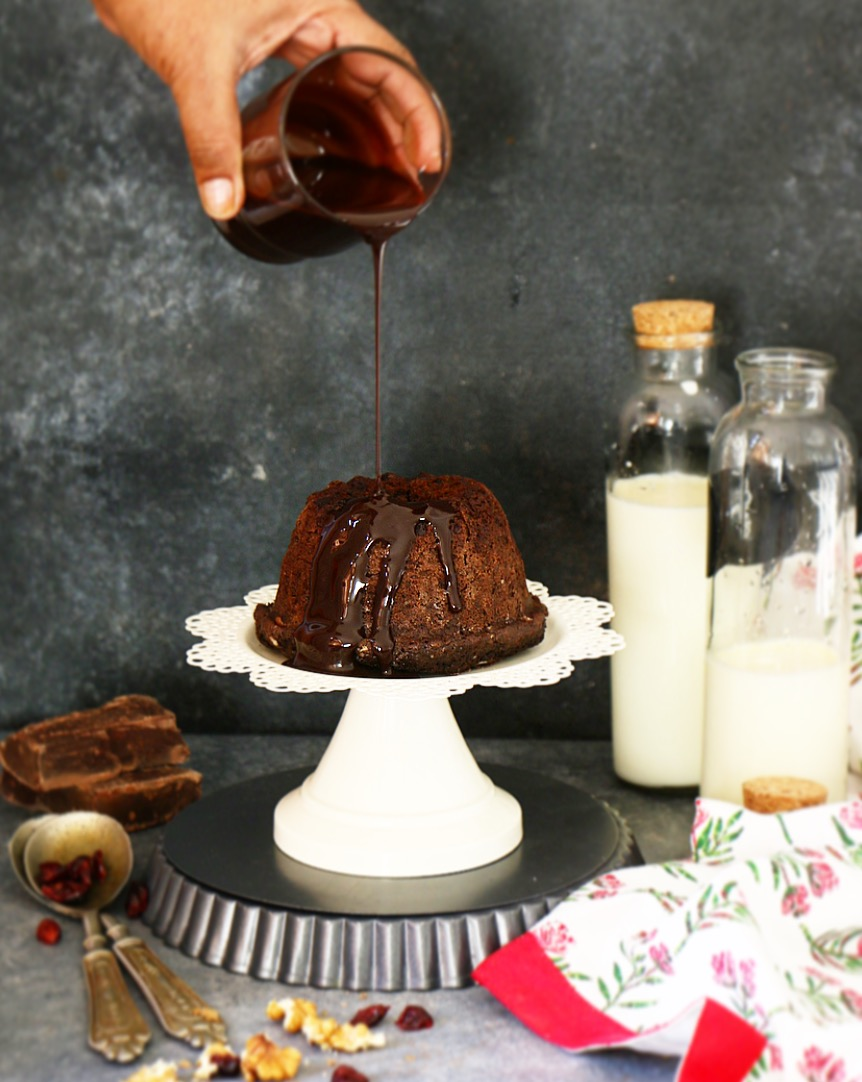 Dark Chocolate Walnut Cake with Chocolate Sauce