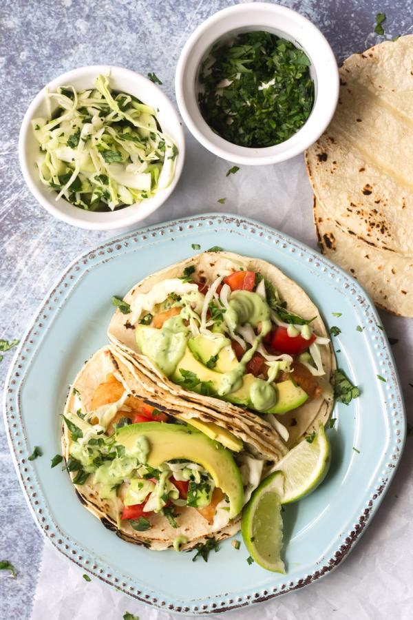 crispy baja fish tacos with avocado crema