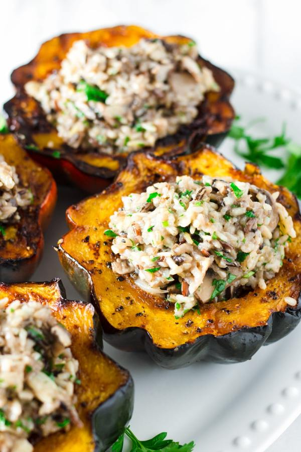 stuffed acorn squash with wild rice pilaf