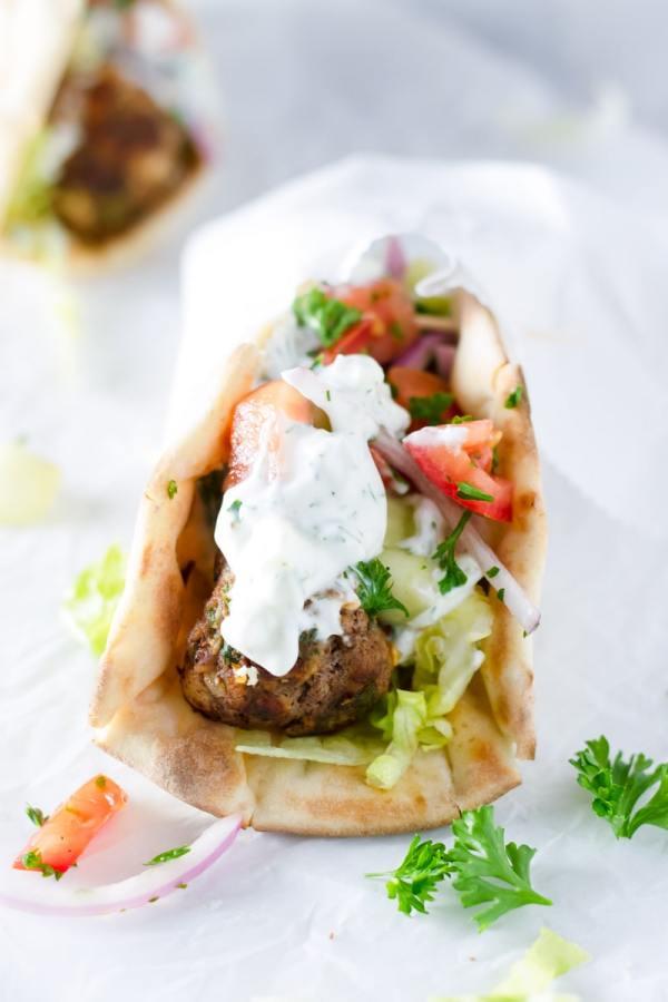 Greek Meatball Gyro Sandwich