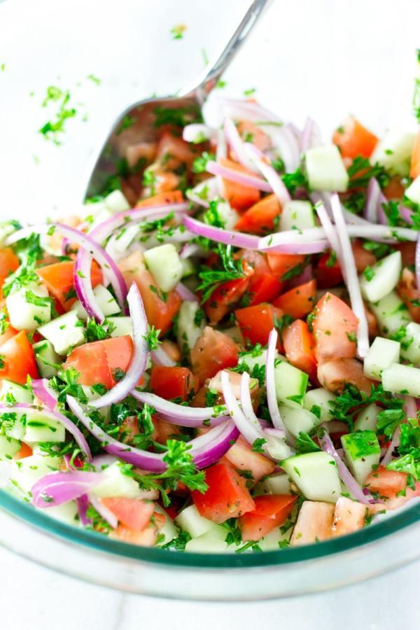 Quick Mediterranean Tomato and Cucumber Salad