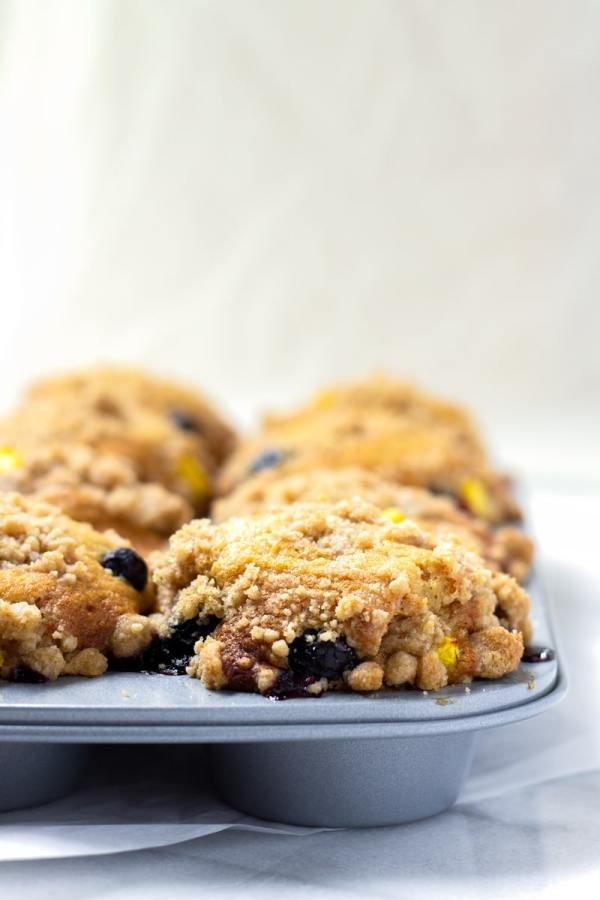 Easy Bakery Style Blueberry Peach Muffins