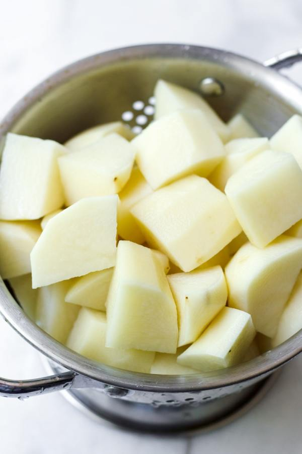 Cut Up Russet Potatoes for Mashed Potatoes