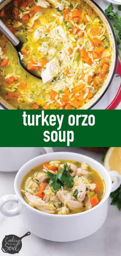 Leftover Turkey Orzo Soup