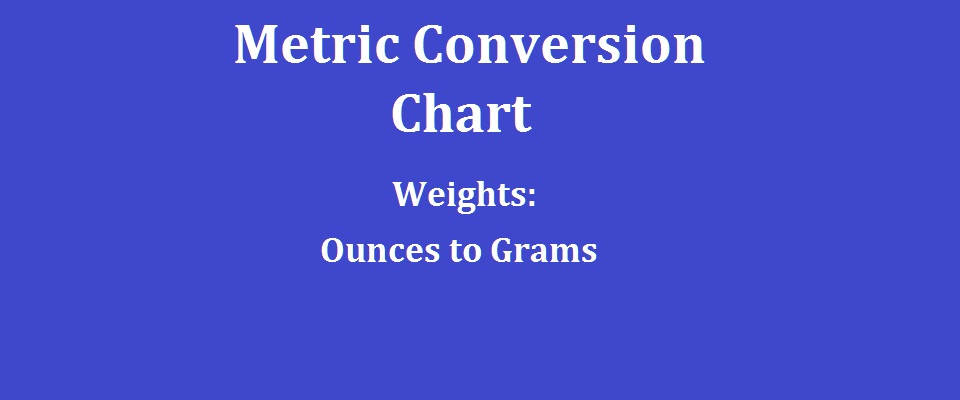 Metric Conversion Chart Weights Ounces To Grams
