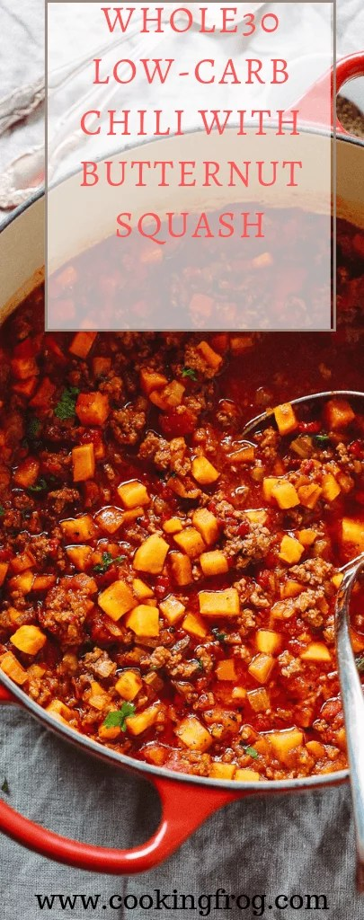 Whole30 Low-Carb Chili with Butternut Squash - Paleo