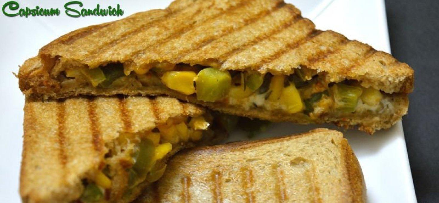 Grilled Corn Capsicum Sandwich | Easy Dinner Ideas